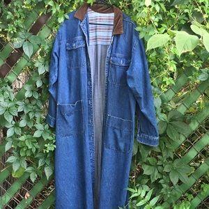 Jackets & Blazers - 90's Vintage Denim Trench w/ Split Tail back